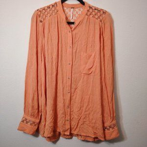 Free People Peach The Best Top Button Down M